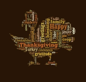 Thanksgiving day word cloud in shape of turkey